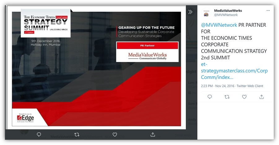 MediaValueWorks – As PR Partner for The Economic Times – Strategy Summit