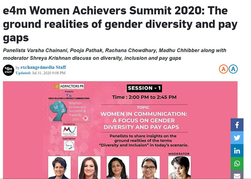 E4M Women Achievers Summit 2020 : The ground realities of gender diversity and pay gaps