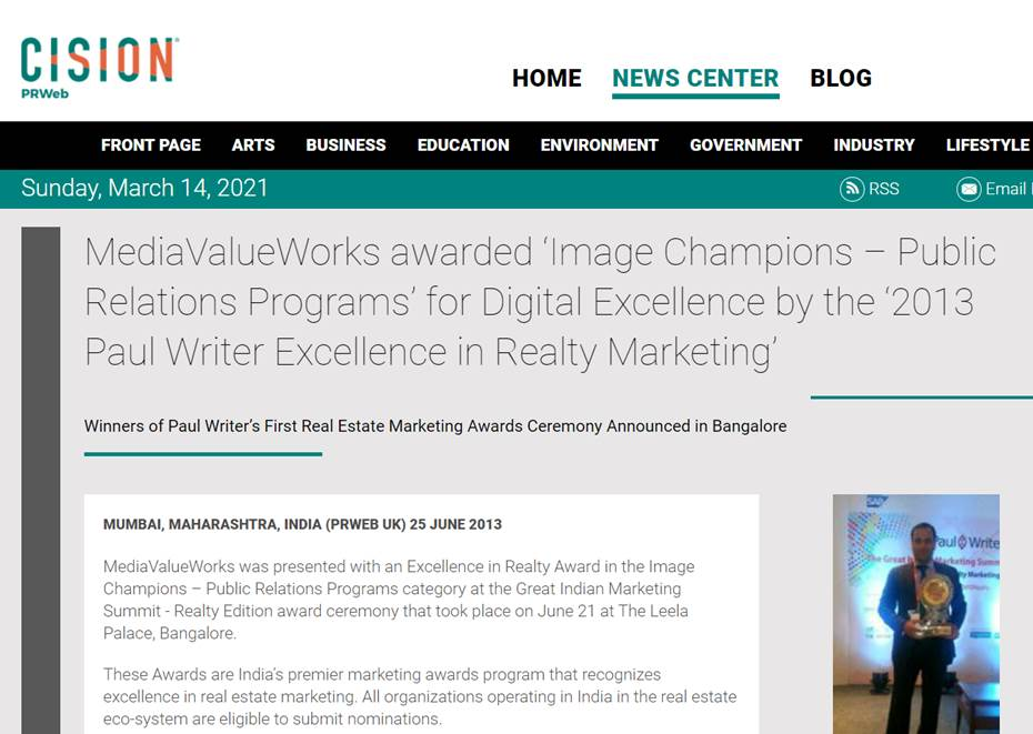 MediaValueWorks awarded 'Image Champions – Public Relations Programs' for Digital Excellence by the '2013 Paul Writer Excellence in Realty Marketing'